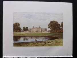 Morris Seats 1860's Antique Print. Badminton House